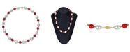 """Macy's White Baroque Freshwater Cultured Pearl (12-13mm) with Red Agate (91 ct. t.w) and Gold Beads (4mm) 18"""" Necklace in 14k Yellow Gold. Also Available with Green Agate"""