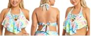 California Waves California Waves Trendy Plus Size Tie-Dye Printed Strappy Flounce Bikini Top, Created For Macy's