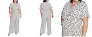 CeCe Plus Size Printed V-Neck Jumpsuit