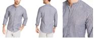 Michael Kors Men's Slim-Fit Stripe Band-Collar Shirt