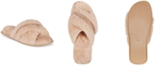INC International Concepts INC Women's Faux-Fur Crossband Slippers, Created For Macy's