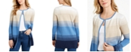 Charter Club Milano Cotton Striped Open-Front Sweater, Created for Macy's