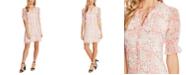 CeCe Floral-Print Tie-Neck Dress