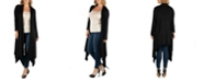 24seven Comfort Apparel Long Sleeve Knee Length Open Plus Size Cardigan