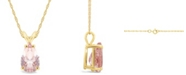 Macy's Morganite (2-5/8 ct. t.w.) Pendant Necklace in 14K Yellow Gold