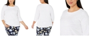 Charter Club Plus Size Cotton Knit Top, Created For Macy's