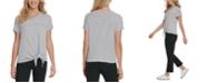 DKNY Jeans Cotton Tie-Front Logo T-Shirt