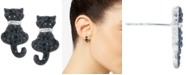Giani Bernini Crystal Cat Stud Earrings in Sterling Silver