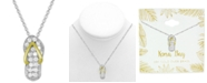 Kona Bay Cubic Zirconia Flip Flop Pendant Necklace in Fine Silver-Plate & Gold-Plate