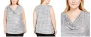 Calvin Klein Plus Size Cowlneck Foil Top