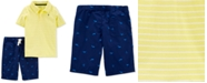 Carter's Little & Big Boys Yellow Stripe Polo Shirt & Whale-Print Shorts Set