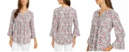 Charter Club Floral-Print Pleated Top, Created for Macy's