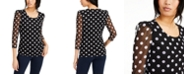 INC International Concepts INC Polka-Dot Sheer-Sleeve Top, Created for Macy's