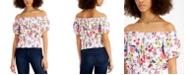 Self Esteem Juniors' Printed Smocked Off-The-Shoulder Top