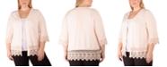 NY Collection Plus Size Crochet-Trim Cardigan