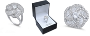 Macy's Cubic Zirconia Flower Knot Statement Ring in Sterling Silver