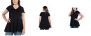 24seven Comfort Apparel Women's Plus Size Short Sleeve V-neck Tunic T-shirt