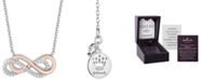"Hallmark Diamonds Infinity Strength pendant (1/10 ct. t.w.) in Sterling Silver & 14k Rose Gold, 16"" + 2"" extender"