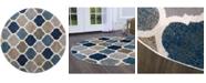 "Global Rug Designs Haven Hav10 Blue and Multi 5'2"" x 5'2"" Round Rug"