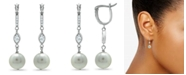 Macy's Imitation Pearl Cubic Zirconia Art Deco Linear Earrings Crafted in Fine Silver Plate