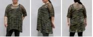 COIN 1804 Women's Plus Size Camouflage Mesh Dolman T-Shirt
