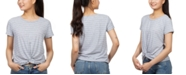Hippie Rose Juniors' Striped Twist-Front T-Shirt