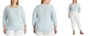 Lauren Ralph Lauren Plus Size Striped Cotton-Blend Top