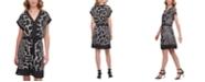DKNY Mixed-Print V-Neck Dress