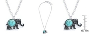 Macy's Simulated Turquoise Silver Plated Elephant Pendant Necklace