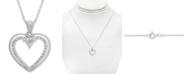 "Macy's Diamond Open Heart 18"" Pendant Necklace (1/5 ct. t.w.) in 14k White Gold"