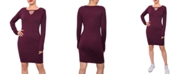 Planet Gold Juniors' Keyhole Bodycon Sweater Dress