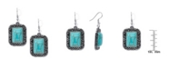 Macy's Simulated Turquoise in Silver Plated Rectangular Cushion Wire Earrings