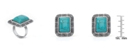 Macy's Simulated Turquoise in Silver Plated Rectangular Greek Key Adjustable Ring