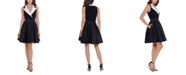 Betsy & Adam Fit & Flare Tuxedo Dress