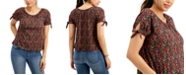 Style & Co Printed Tie-Sleeve Top, Created for Macy's