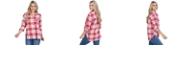 Lids UG Apparel Ohio State Buckeyes Women's Flannel Boyfriend Plaid Button Up Shirt