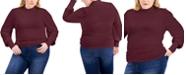 FULL CIRCLE TRENDS Trendy Plus Size Mock Neck Balloon-Sleeve Top