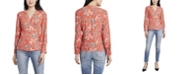 Vince Camuto Women's Antique Like Floral Printed Side Tie Wrap Top