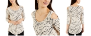 JM Collection Printed Cold-Shoulder Top, Created for Macy's
