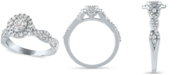 Macy's Diamond Halo Cluster Engagement Ring (1/2 ct. t.w.) in 14k White Gold