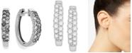 Macy's Diamond Two-Row Hoop Earrings in 14k White Gold (1/2 ct. t.w.)