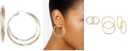 Macy's Interlocking Hoop Earrings in 14k Gold Over Silver and 14k White Gold Over Silver