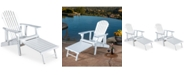 Noble House Collyer Adirondack Chair Set and Footrest (Set Of 2)