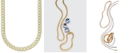 """Macy's 24"""" Men's Two-Tone Cuban Link Chain Necklace in 18k Gold-Plated Sterling Silver and Sterling Silver"""