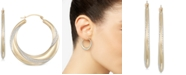 Macy's Two-Tone Polished & Textured Hoop Earrings in 10k Gold & White Gold