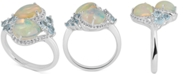 Macy's Opal, Blue Topaz (1 ct. t.w.) & White Topaz (1/4 ct. t.w.) Ring in Sterling Silver