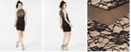 Emerald Sundae Juniors' Lace Illusion Bodycon Dress