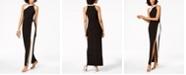 MSK Two-Tone Rhinestone Halter Gown