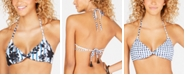 Lucky Brand On The Grid Printed Reversible Bralette Bikini Top