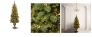 National Tree Company National Tree 4' Glittery Gold Pine Entrance Tree with Berries, Cones and 100 Clear Lights in a Dark Bronze Pot
